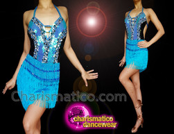 CHARISMATICO Electric blue, black and steel hued sequinned dress with halter neck
