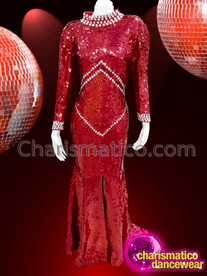 CHARISMATICO Red and silver sequinned drag queen diva gown