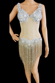 CHARISMATICO Silver Sequinned Beaded Leotard Dress With Beige Skin Tight Body