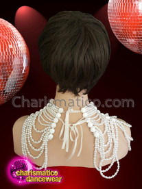 CHARISMATICO Diva showgirl pearl necklace with solid large pearls and white ribbon tie