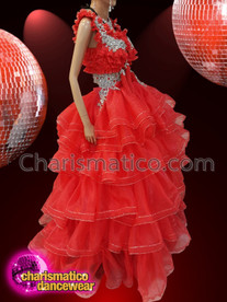 CHARISMATICO Silver Sequinned And Beaded Orange Diva Top And Ruffle Gown