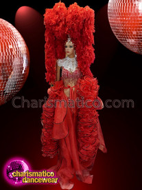 CHARISMATICO Red Diva Costume Set With Organza Ruffled Dress And Boa Headdress