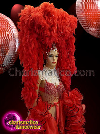 CHARISMATICO Red Feather Boa Headdress With Silver Crystallized Tiara