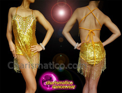 CHARISMATICO Gold sequinned leotard with cross neck halter and silver fringes