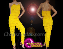 CHARISMATICO Yellow Diva Cat Suit Covered With Yellow Fringes