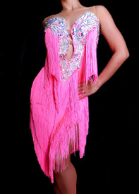 CHARISMATICO Pink Salsa Dance Dress With Pink Fringes And Silver And Blue Crystals