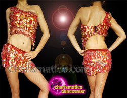 CHARISMATICO Red Diva Dress With Red And Gold Sequinned Top And Shorts