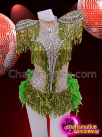 CHARISMATICO Green fringe diva boa leotard with silver sequins and green feather tail