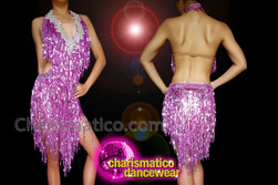 CHARISMATICO Purple sequinned fringe dance Latin diva dress with silver sequinned neckline