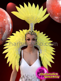 CHARISMATICO Elegant feathered sequinned golden yellow backpack and headdress