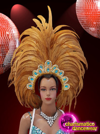 CHARISMATICO Show girl drag queen light browned feathered headdress with sequins