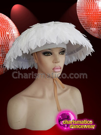 CHARISMATICO Showgirl Diva White Feathered Drag Queen Cap