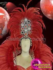 CHARISMATICO Scarlet red showgirl diva headdress with silver red sequins and beans