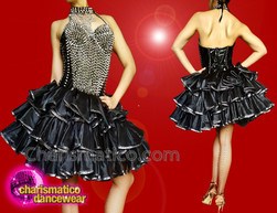 CHARISMATICO Black ruffled gothic dress with silver beads and halter neck