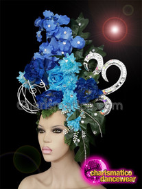 CHARISMATICO Magnificent blue flower headdress with silver crown and cage