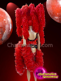 CHARISMATICO Red diva costume set with large boa headdress
