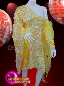 CHARISMATICO Yellow Sequinned Drag Queen Diva Ruffled Show Girl Dress