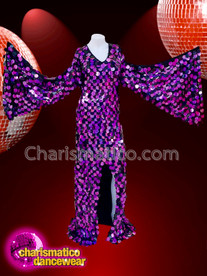 CHARISMATICO Purple and black sequinned winged drag queen diva gown
