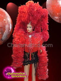 CHARISMATICO Red and black feather diva drag queen costume set