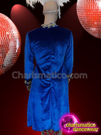 CHARISMATICO Royal Blue Diva Sequinned Dance Show Time Coat