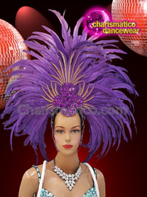 CHARISMATICO Purple feathered silver sequinned diva drag queen cabaret headdress