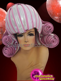 CHARISMATICO Silver Pink Dive Drag Queen Show Time Curled Headdress
