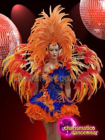 CHARISMATICO Orange and blue feather diva show girl costume set