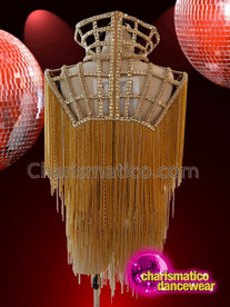 CHARISMATICO Gold cage fringed chain diva gaga show girl top
