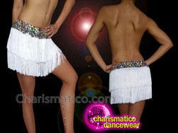 CHARISMATICO Silver Fringed Diva Show Girl Dance Shorts