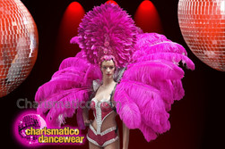 CHARISMATICO Fuchsia feather diva show girl headdress and backpack