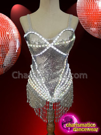 CHARISMATICO Silver Sequinned Fringed Led Diva Dance Leotard