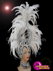 CHARISMATICO White feather crystallised diva show girl ruffle headdress