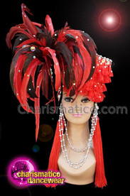 CHARISMATICO Red and black feathered show girl diva headdress with silver beads