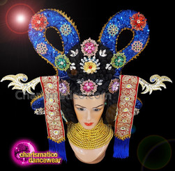 CHARISMATICO Royal Blue Sequinned Diva Show Girl Japanese Headdress