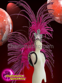 CHARISMATICO Fuchsia And Black Feathered Headdress And Backpack With Silver Sequins