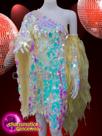 CHARISMATICO Yellow One Sleeved, Reflective Mirror Sequinned Drag Queen Dress