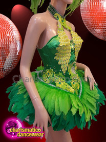 CHARISMATICO Green Feathered Latin Diva Bird Show Girl Dress