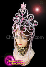 CHARISMATICO Pink And Silver Beaded Diva Show Girl Queen Headdress
