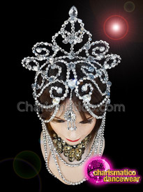 CHARISMATICO Silver Beaded Diva Show Girl Drag Queen Floral Headdress