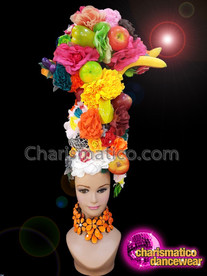 CHARISMATICO Diva Flower And Fruit Ruffled Show Girl Fancy Headdress
