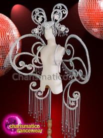 CHARISMATICO Silver Sequinned Diva Crystallized Show Girl Headdress And Floral Wing