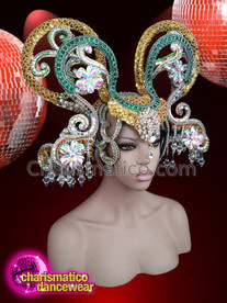 CHARISMATICO Gold green show time crystallised diva show girl headdress
