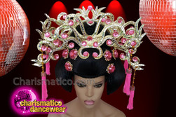 CHARISMATICO Pink Crystallised Japanese Floral Oriental Diva Show Girl Headdress