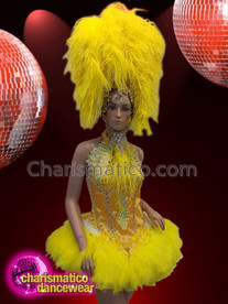 CHARISMATICO Bright yellow silver sequinned feathered ruffled costume headdress set