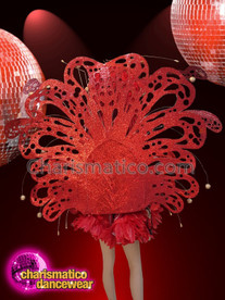 CHARISMATICO Red And Gold Diva Show Girl Ostrich Feather Costume Set