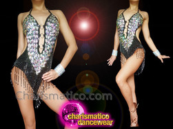 CHARISMATICO Black Crystallised Silver Sequinned Fringed Diva Show Girl Leotard