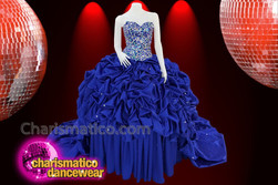 CHARISMATICO Royal blue silver sequinned ruffled diva Quinceanera dress