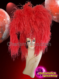 CHARISMATICO Red Ostrich Ruffle Feather Silver Sequinned Diva Show Girl Headdress