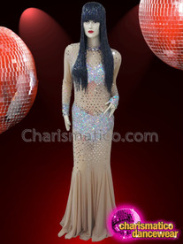 CHARISMATICO Nude Long Sleeve Silver Sequin See Through Drag Queen Gown
