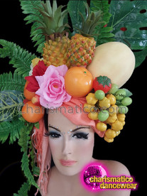 CHARISMATICO Tropical fruit and leaf floral diva show girl headdress